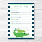 Preppy Alligator Printable Baby Shower Wishes For Baby Advice Cards #A157