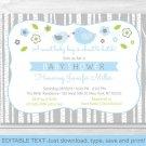 Blue & Grey Woodland Bird Printable Baby Shower Invitation Editable PDF #A352