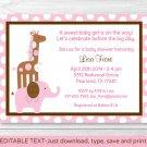 Mod Pink Elephant Giraffe Jungle Printable Baby Shower Invitation Editable PDF #A353