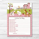 Pink Farm Pony Cow Sheep Owl Printable Baby Shower Wishes For Baby Advice Cards #A318