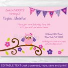 Girl Owl Blossom Printable Birthday Invitation Editable PDF #A319