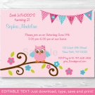 Pink Girl Owl Blossom Printable Birthday Invitation Editable PDF #A354