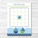 Sail Away Sailboat Nautical Green Printable Baby Shower Bingo Cards #A210