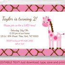 Pink Giraffe Jungle Safari Printable Birthday Invitation Editable PDF #A329