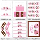 Pink Ladybug Printable Birthday Party Package #A355