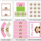 Lil Monkey Girl Jungle Safari Printable Baby Shower Party Package #A270
