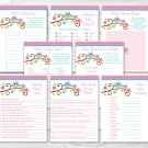 Pink Owl Baby Shower Games Pack - 8 Printable Games #A162