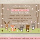 Pink Woodland Animals Fox Deer Bear Bunny Baby Shower Invitation Editable PDF #A340