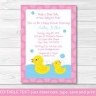 Pink Rubber Duck Printable Baby Shower Invitation Editable PDF #A320
