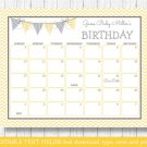 Yellow Chevron Baby Due Date Calendar Editable PDF #A356