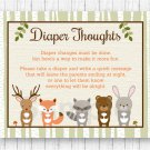 Woodland Animals Diaper Thoughts Late Night Diaper Baby Shower Game #A191