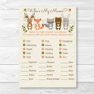 Woodland Animals Baby Shower Baby Animal Match Game Printable #A191