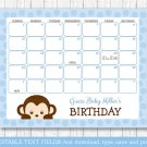 Monkey Baby Due Date Calendar Editable PDF #A175
