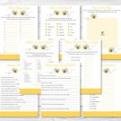 Bumble Bee Baby Shower Games Pack - 8 Printable Games #A359