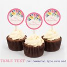 Watercolor Flowers Cupcake Toppers Party Favor Tags Editable PDF #A361