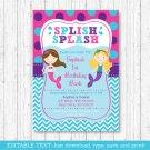 Mermaid Pool Party Birthday Invitation Printable Editable PDF #A363