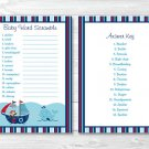 Nautical Pirate Whale Baby Shower Baby Word Scramble Game Cards Printable #A287