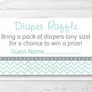 Green Chevron Baby Shower Diaper Raffle Tickets Printable #A364