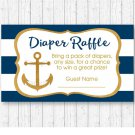 Nautical Gold Anchor Baby Shower Diaper Raffle Tickets Printable #A365