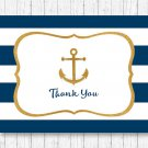 Nautical Gold Anchor Thank You Card Printable #A365