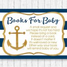 Nautical Gold Anchor Baby Shower Book Request Cards Printable #A365