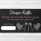 Pink Chalkboard BaByQ Diaper Raffle Tickets Baby Shower BBQ Printable #A366