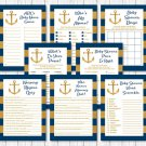 Nautical Gold Anchor Baby Shower Games Pack - 8 Printable Games #A365