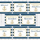 Nautical Gold Anchor Baby Shower Table Signs - 8 Printable Signs #A365