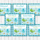 Blue Under The Sea Baby Shower Table Signs - 8 Printable Signs #A237