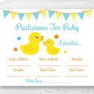 Rubber Duck Baby Shower Baby Predictions Game Cards Printable #A367