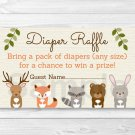 Woodland Forest Animals Baby Shower Diaper Raffle Tickets Printable #A191