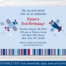 Airplane Birthday Invitation Blue And Red Printable Editable PDF #A155