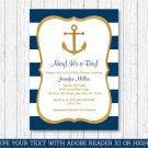Nautical Gold Anchor Printable Baby Shower Invitation Editable PDF #A365
