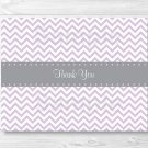 Purple & Grey Chevron Thank You Card Printable #A370