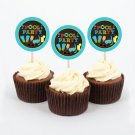 Boys Chalkboard Pool Party Cupcake Toppers Party Favor Tags Printable #A344