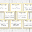 Yellow Chevron Baby Shower Table Signs - 8 Printable Signs #A356