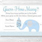 "Blue Chevron Elephant Baby Shower ""Guess How Many?"" Game Cards Printable #A187"