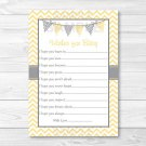 Yellow Chevron Printable Baby Shower Wishes For Baby Advice Cards #A356
