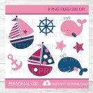 Pink Nautical Whale Sailboat Clipart #A254