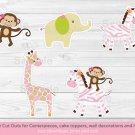 Safari Girl Jungle Animals Party Cutouts Decorations Printable #A229