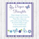 Lavender Butterfly Garden Diaper Thoughts Late Night Diaper Baby Shower Game #A218