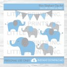 Blue & Grey Polka Dot Elephants Clipart #A135