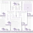 Purple Elephant Baby Shower Games Pack - 8 Printable Games #A242