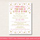 Pink & Gold Twinkle Little Star Printable Baby Shower Invitation Editable PDF #A372