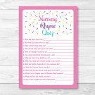 Pink Baby Sprinkle Baby Shower Nursery Rhyme Quiz Game Printable #A357