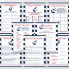 Nautical Anchor Blue & Red Baby Shower Games Pack - 8 Printable Games #A259