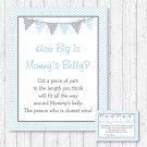 Blue Chevron How Big Is Mommys Belly Baby Shower Game #A260