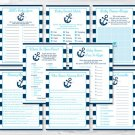 Nautical Anchor Baby Shower Games Pack - 8 Printable Games #A222