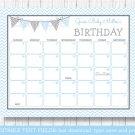 Blue Chevron Baby Due Date Calendar Editable PDF #A260