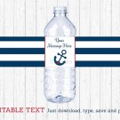 Nautical Anchor Navy Blue & Red Water Bottle Labels Printable Editable PDF #A259